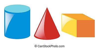 formes, géométrique, couleurs, trois