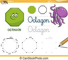 formes, géométrique, dessin animé, octogone, fondamental