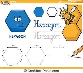 formes, géométrique, hexagone, dessin animé, fondamental