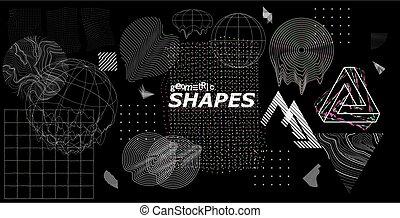 formes, glitch, branché, universel, moderne, effets
