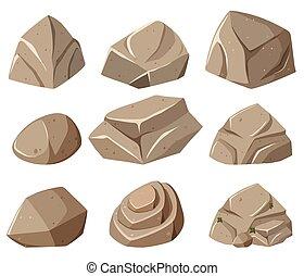 formes, gris, différent, rochers