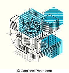 formes, isométrique, linéaire, elements., résumé, différent...
