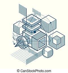 formes, isométrique, linéaire, elements., résumé, différent, maille, hexagones, arrière-plan., vecteur, conception, cubes, rectangles, figures, carrés, 3d