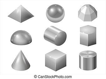formes, métal, argent