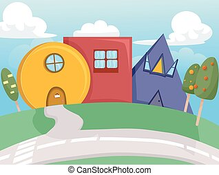 formes, maison, conception géométrique