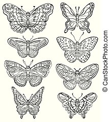 formes, papillons, ensemble, divers, vecteur