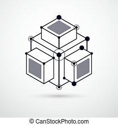 formes, plan, fond, moteur, moderne, ou, illustration., vecteur, blanc, mechanism., géométrique, noir, ingénierie, résumé, 3d, retro, futuriste