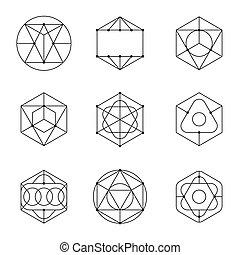 formes, résumé, ensemble, géométrique, vecteur