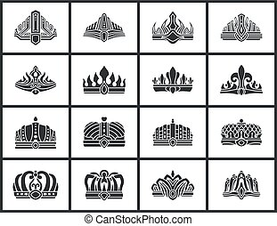 formes, vecteur, illustration, couronnes, collection