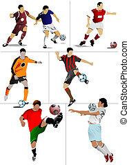 formgivarna, players., färgad, illustration, vektor, fotboll