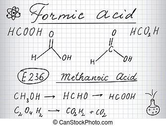 Formic acid (methanoic) molecule. Hand drawing, sheet of ...