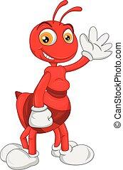 formica, carino, ondeggiare, cartone animato