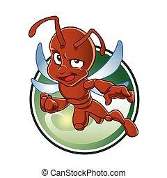 formica, cartone animato, rosso, ali