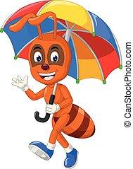 formica, divertente, ombrello, cartone animato, arancia