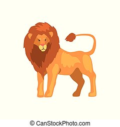 Formidable lion, wild predatory animal vector Illustration isolated on a white background.