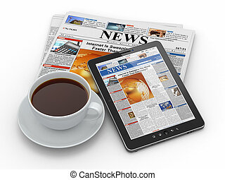 formiddag, news., pc. tablet, avis, og, kop kaffe