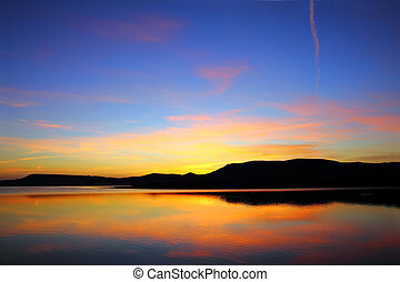 formiddag, sø, hos, bjerg, foran, solopgang