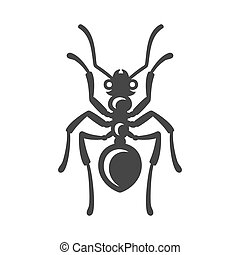 formiga, ícone, branco, experiência., vetorial