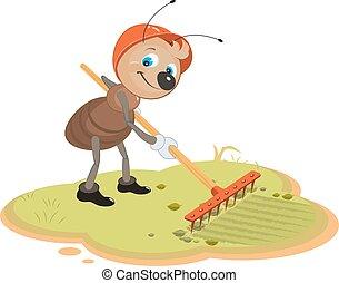 formiga, ancinho, jardineiro