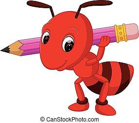 formiga, lápis, caricatura, vermelho, segurando