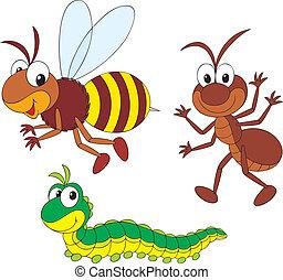formiga, lagarta, abelha