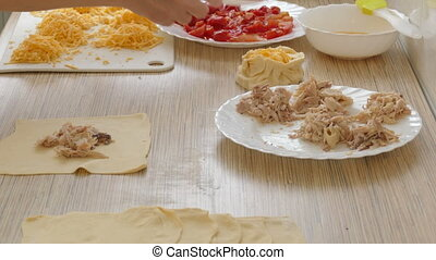 forming of patties stuffed - filling pies food...
