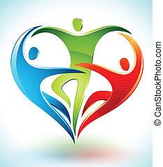 formning, beräknar, tre, hjärta