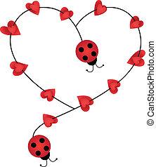 formning, nyckelpigor, hjärta gestalta