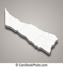 formosa, mapa, provincia, argentina, isométrico, 3d