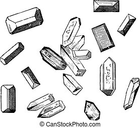 Forms of crystals of the magnesium ammonium phosphate, vintage engraved illustration.