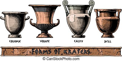 Forms of kraters. Greek vessel shapes. - Vector hand drawn ...
