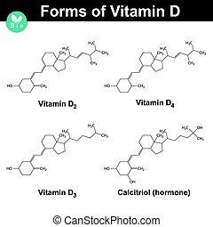 Forms of vitamin D - cholecalciferol, ergocalciferol, dihydrotachysterol, calcitriol, molecular formulas, 2d vector, eps 8