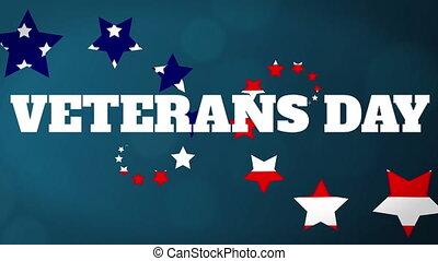 formując, weterani, ożywienie, u.s., dzień, bandera, barwny...