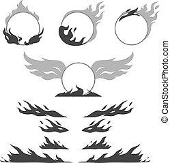 formuje, tworzyć, komplet, płomień, logotype