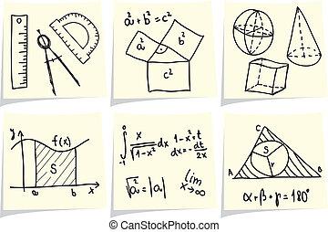 formulák, aprófa, ikonok, mértan, memorandum, sárga, matematika