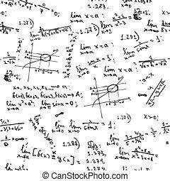 formulák, matek, seamless, háttér, tábla
