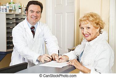 formulários, enchimento, médico, saída