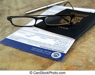 formulários, passaporte, eua, alfândega