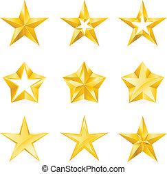 formulários, tipos, diferente, estrelas, ouro