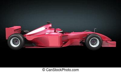 Formula 1 bolide rotating on black