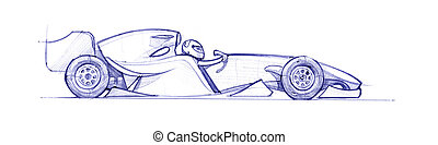 formula 1  - Formula 1 car drawed with a pen. hand drawn
