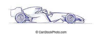 formula 1 - Formula 1 car drawed with a pen. hand drawn