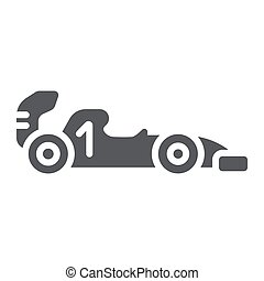 Formula 1 glyph icon, sport and automobile, race car sign, vector graphics, a solid pattern on a white background.