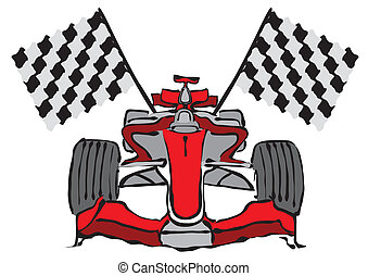Formula 1 Racing Car Vector Illustration