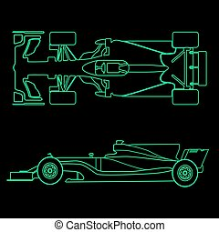 Formula car, linear light silhouette of a racing car isolated on black background. Top view and side view. Vector illustration