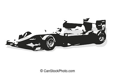 Formula car vector silhouette illustration