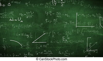 """Formula doodle on chalkboard background"""
