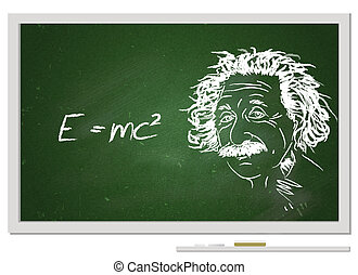 Formula e=mc2/ Albert Einstein portrait with chalk on chalkboard and his famous formula.