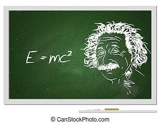 Formula e=mc2/ Albert Einstein portrait with chalk on ...