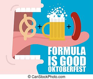 Formula Good Oktoberfest. Open mouth, long tongue and teeth. Man drinks beer mug and eating sausage. Pretzel snack habits. National Holiday in Germany.